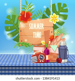 summer time with picnic basket on tablecloth. can be use for greeting and invitation card. background , backdrop. vector illustration - Vector