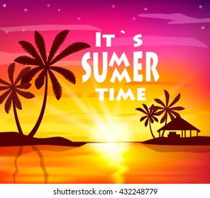 Summer time poster with sunset seaside and palm tree silhouette.