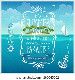 Summer time poster with tropical background.