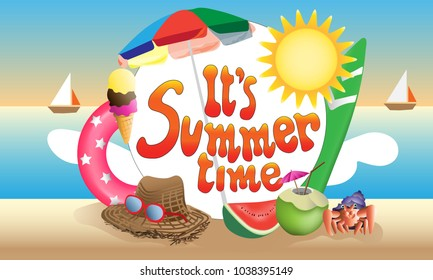 It's summer time poster. (vector)