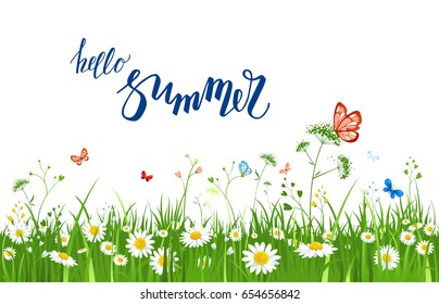 It's summer time quote. Summer or spring landscape for design banner, ticket, leaflet, card, poster and so on. Green grass and flowers scenery.