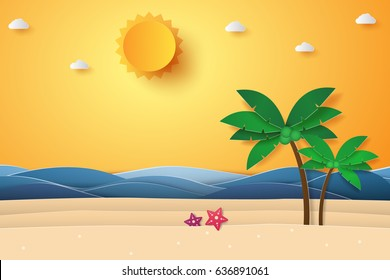Summer time , sea with beach and coconut tree , paper art style