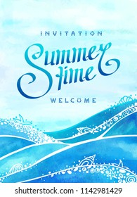 Summer time and sea wave background with invitation and welcome hand drawn text. Watercolor ocean wave, sea wave with ornamental sea foam and seashell and sky background. Vertical vector illustration.