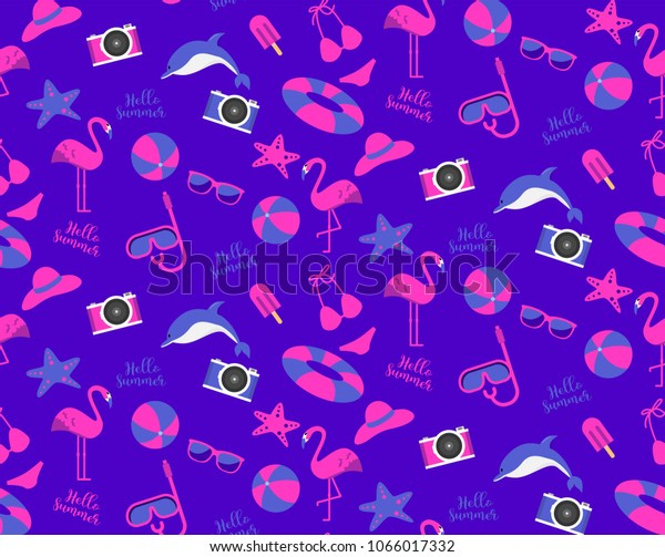 Astounding Summer Time Seamless Pattern Background Neon Stock Vector Download Free Architecture Designs Intelgarnamadebymaigaardcom