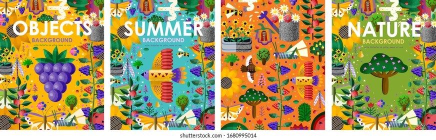 Summer time! Set posters of bright backgrounds and objects with summer flowers, juicy fruits, abstract birds, butterfly, gardening and nature. Vector illustration for banner, card, poster or postcard