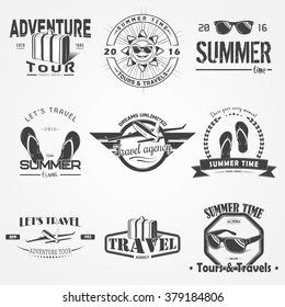 Summer time set. Tourist agency. Travel around the world. Detailed elements. Typographic labels, stickers, logos and badges. Flat vector illustration
