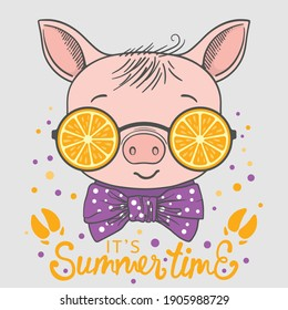 Summer Time slogan with fun piggy boy face, orange sunglasses, footprint for t-shirt graphics, fashion prints, posters and other uses.