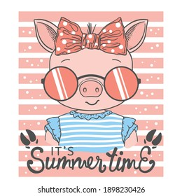 Summer Time slogan text with fun piggy girl face, footprint for t-shirt graphics, fashion prints, posters and other uses