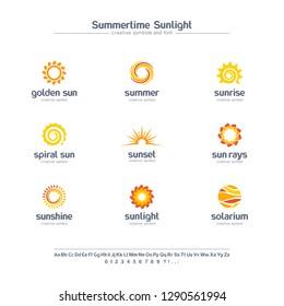 Summer time, sun light creative symbols set, Spiral rays, solarium abstract business logo.