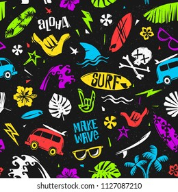 Summer time Surfing colorful seamless pattern template on black background.  Surfing tropical elements pattern for print fabric design. Edless vector background