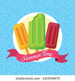summer time sweet popsicles pool background vector illustration