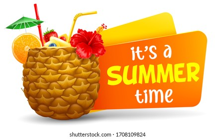 Summer Time title with decorated exotic drink or cocktail in the half part of pineapple. Design element for summer cocktail party, drinks menu etc. Vector illustration.