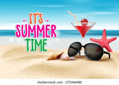 Summer Time Title in Sand and Horizon Background with Cocktail Glass, Shades and Corals in Beach Sea Shore. Editable vector Illustration.