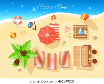 Summer time top view with umbrella palm and sea flat vector illustration