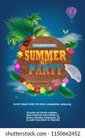 Summer Time typographic on vintage wood background. Tropical plants, flower, flip-flops, air balloon, parasol, butterflies, bright sun, clouds. Vector Illustration. Invitation.