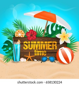 Summer Time typographic on vintage wood background. Tropical plants, flower, beach ball, sunglasses, cocktail and sunshade. Vector illustration