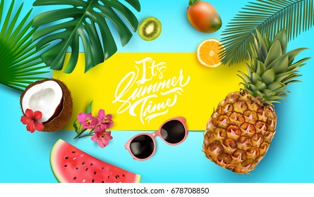 It's Summer Time typographical background layout for banners, Wallpaper, invitation, posters, brochure, voucher discount.Vector illustration template.