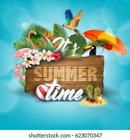It's Summer Time Typographical Wooden Background With Tropical plants, flowers, palm leaves, parrot and flamingo.