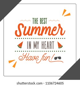Summer time typography vector illustration