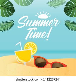 Summer Time, vector background, beach and tropical sea - Vector