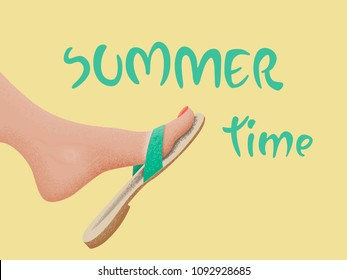 Summer time vector banner design with tanned kicking bare foot in sandal on the beach. Vector illustration. wallpaper, fun, party, background, art, image, design, travel, poster, event