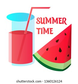 Summer time vector banner design with white circle for text and colorful watermelon with fresh juce. Vector illustration.