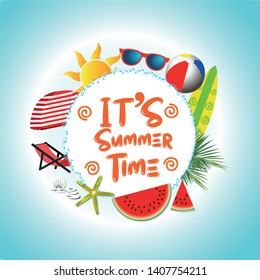 Summer time vector banner design with white circle for text and colorful beach elements in white background. Perfect Vector illustration.