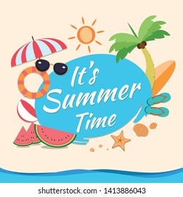 Summer time vector banner design with blue circle for text and colorful beach elements in sand colored background