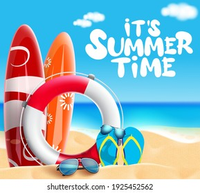 Summer time vector banner design. It's summer time text with beach element like surfboard, lifebuoy and sunglasses in sea and sand background for fun, enjoy and relax vacation. Vector illustration