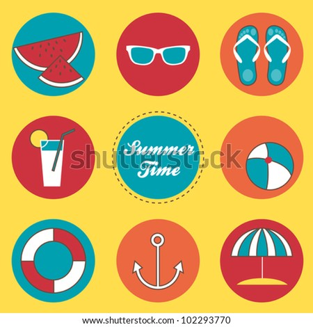 3e5d2b9e8d72 Summer Time Vector Icons Set Sunglasses Stock Vector (Royalty Free ...