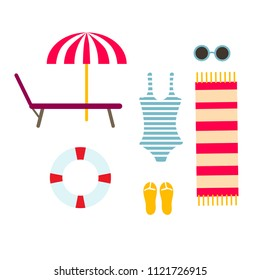 Summer time vector illustration. Flat colorful concept. Umbrella, chaise-longue, life buoy, towel, swimsuit, flip flop and sunglasses.
