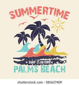 Summer time - vector illustration in vintage graphic style for t-shirt and other print production. Palms, wave and sun creative logo badge. Summer vacation concept. Design elements.