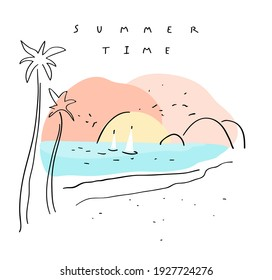 Summer time. Vector romantic background. Hand drawn beach with palms and boats in water at sunset composition, handwritten summer time text. Simple drawing. Useful for poster, web design, banner, postcard, print