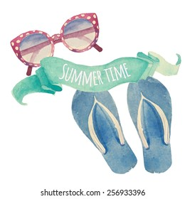 Summer time. Watercolor summer vacation retro label. Vintage hand drawn beach travel objects: sunglasses, flip flops and artistic mint ribbon. Vector isolated illustration