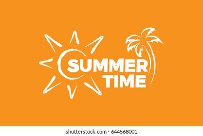 Summer time. White illustration on orange background.
