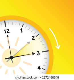 summer time yellow clock standard time after advancing for daylight saving time vector illustration EPS10