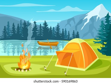 Summer tourist camp in forest near lake vector illustration. Campfire and tourist tent on river bank. Camping and hiking, summer vacation outdoor, adventure travel, mountain landscape in cartoon style