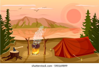 Summer tourist camp in forest near lake at sunset vector illustration. Campfire and tourist tent on river bank. Camping and hiking, summer vacation outdoor, adventure travel, mountain landscape.