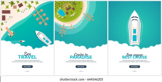 Summer travel banner. Sea travel. Summer time. Hello Summer. Cruise to paradise. Beach, sea and ship