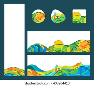 Summer travel - banners and buttons set, vector template for web, print and other projects. Latin America landscapes