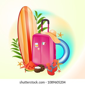 Summer travel, beach vacation, vacation planning. Ready design, flights, luggage, airport. Beautiful illustration, realistic drawing. Beautiful illustration, realistic drawing.