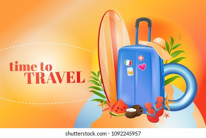 Summer travel, beach vacation, vacation planning. Ready design, flights, luggage, airport. Beautiful illustration, realistic drawing.