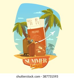 Summer travel. Bright, colorful poster to advertise travel packages to sea. Vector illustration. Sea, palm, sand, beach, summer, tickets, ticket, passport, suitcase, camera, people.
