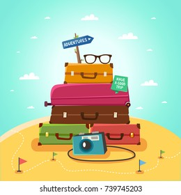 "Summer travel concept. Travel Banner with luggage, backpacks, photo camera. Road sign ""Adventures"" and ribbon ""Have a good trip"". Vector colorful illustration."