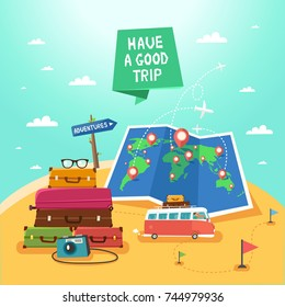 "Summer travel concept. Travel Banner with luggage, backpacks, photo camera, folded map with pins, travel bus. Road sign ""Holiday"" and ribbon ""Have a good trip"". Vector colorful illustration."
