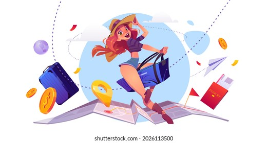 Summer travel concept, girl tourist riding luggage