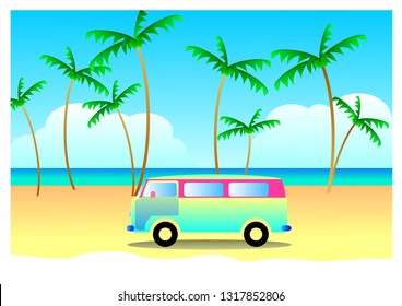 Summer travel concept, vacation with vintage van, Vector summer concept