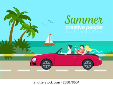 Summer travel couple cabrio car flat web infographic concept vacation vector postcard template. Beautiful woman man drink wine backseat driving seashore island road yacht. Creative people collection.