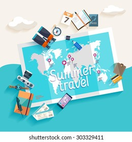 Summer travel. Flat design.