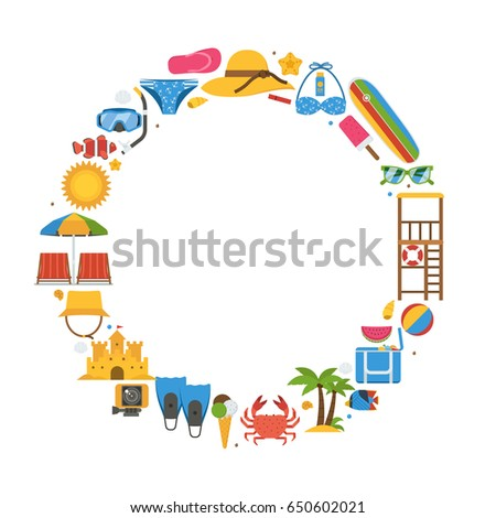 83dec340cf5 Sea vacation or summer holidays background with sunbathing accessories and water  sports and activity icons. - Vector